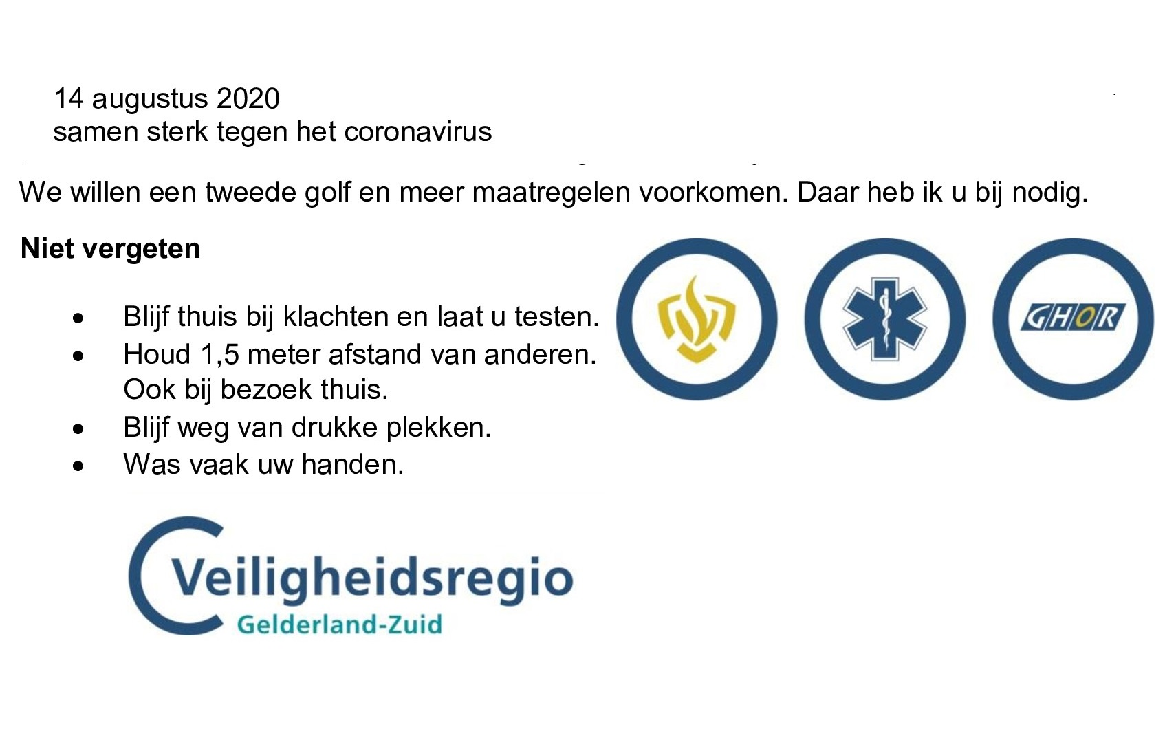 Brief Veiligheidsregio Gelderland Zuid Blijf Regels Volgen Vocasa Volleybal Nijmegen