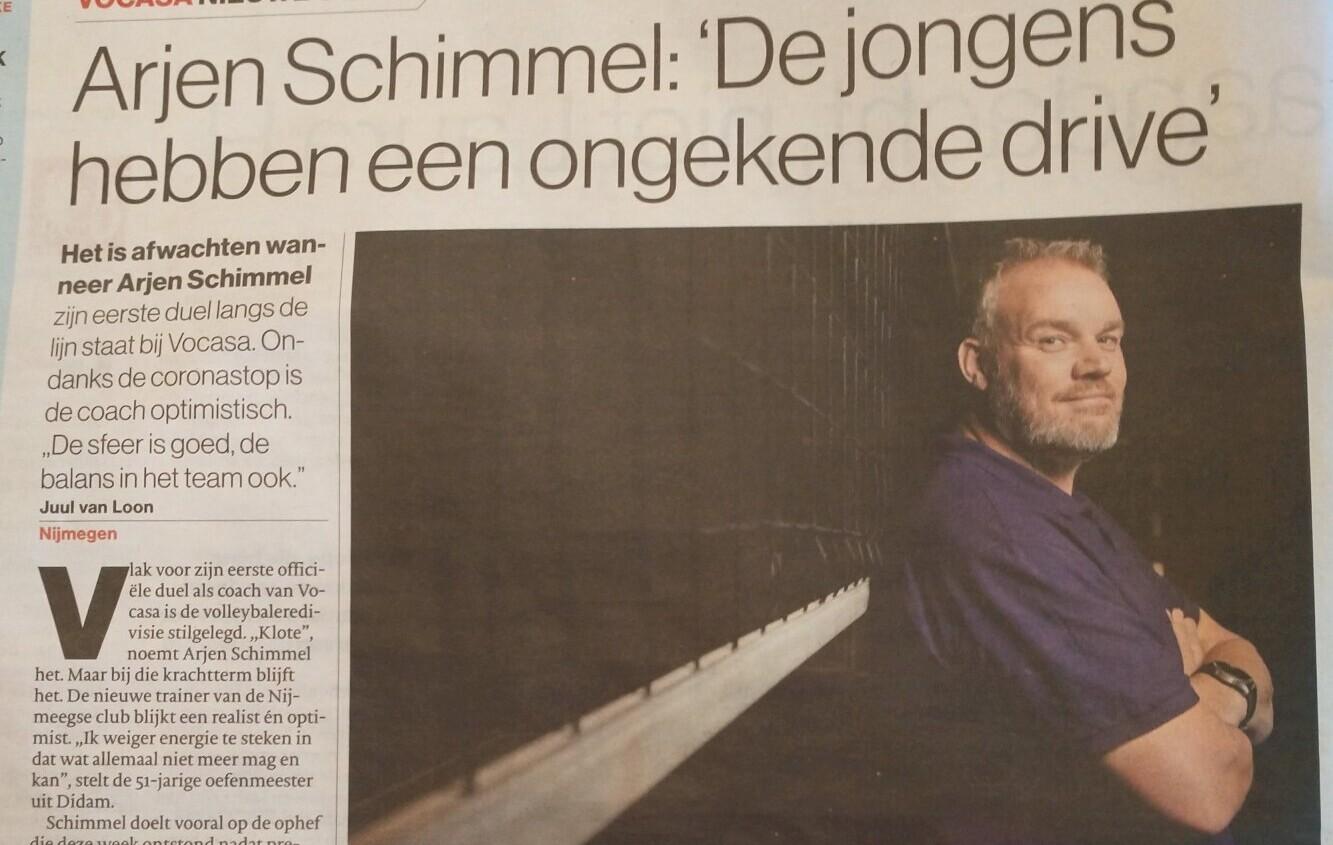 De Gelderlander 17 okt 2020: Arjen Schimmel 'de jongens hebben een ongekende drive'